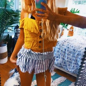Tops - wood vibes dainty mustard yellow cold shoulder top